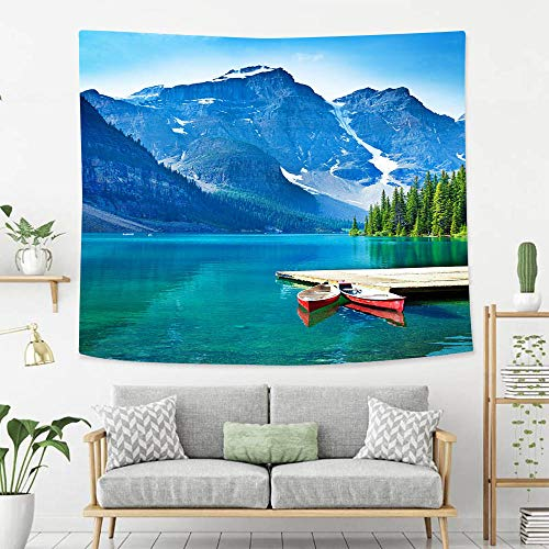 BEIVIVI Creative Custom Tapestry Lake Moraine and Canoe Dock in Banff National Park Polyester Fabric Tapestries for Bedroom Living Room Dorm ()