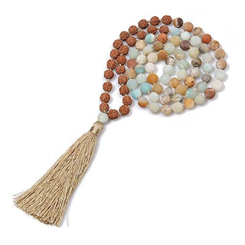 (BALIBALI 6MM Mala Beads Necklace Natural Stone Meditation Statement Necklace Japa Yoga Rosary Prayer Charm Beaded Tassel Necklace)