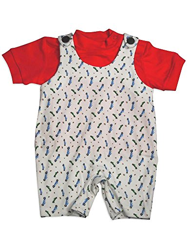 Snopea - Baby Boys Zoom Zoom Shortall, White, Red 29667-12Months