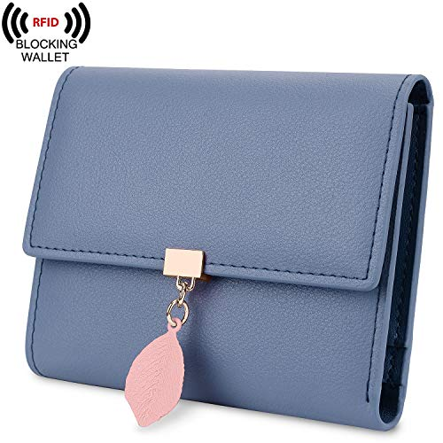 Billfold Pattern - Yaluxe Small Wallet for Women RFID Blocking Genuine Leather Leaf Pendant Snap Card Holder Organizer Girls Zipper Coin Purse