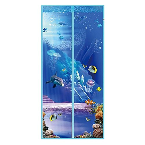 Ochine Magnetic Screen Door - Heavy Duty Mesh Curtain - Marine Organism Pattern Printed with 7 Pairs Magnetic Buckles and 6 Pairs Magnetic - Screen Printed Magnet