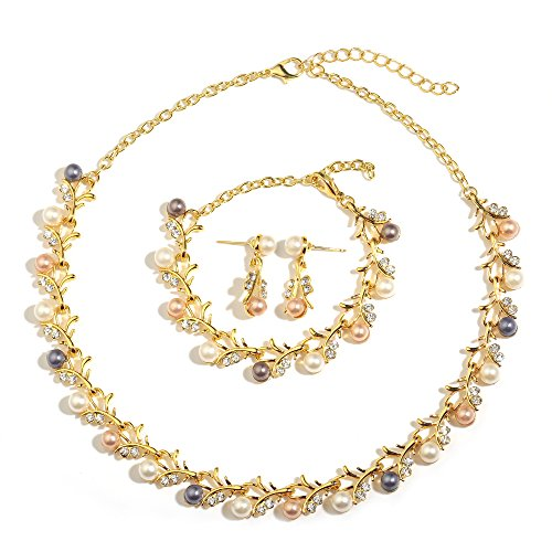 MOOCHI 18K Gold Plated Colorful Simulated Pearls Crystal Twig Pattern Jewelry Set