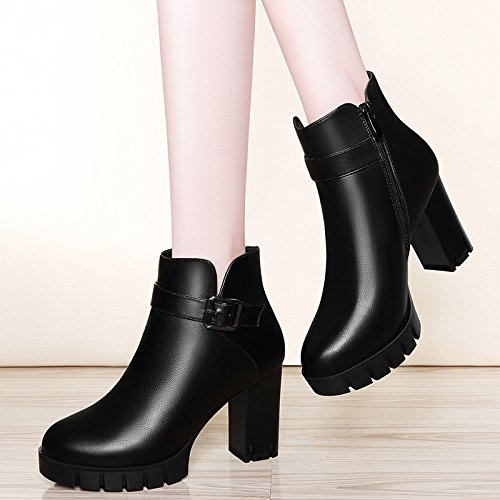 High Heel Winter High Shoes And And Women Autumn AJUNR Boots 37 Shoes Chelsea Rough American Ladies The Leather Shoes Fashion New Women European With Wild New Style Heeled Boots And qPXYfS