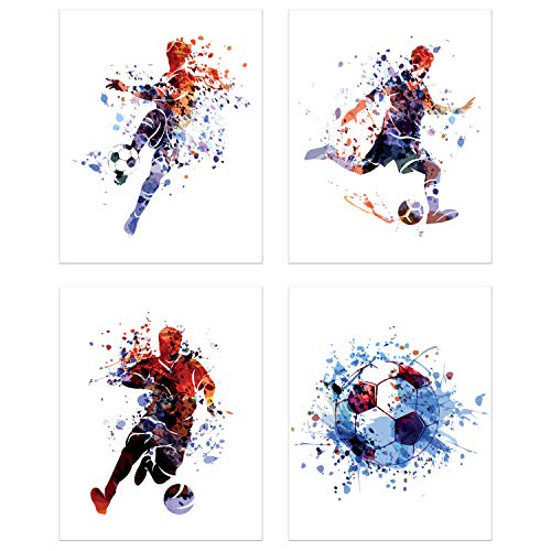 Summit Designs Soccer Watercolor Wall Art Prints - Particle Silhouette – Set of 4 (8x10) Poster Photos - Man Cave- Bedroom Decor for $<!--$19.95-->