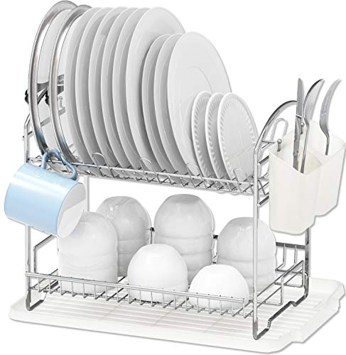 Simple Houseware 2-Tier Dish Rack with Drainboard, Chrome (Two Tier Dish)