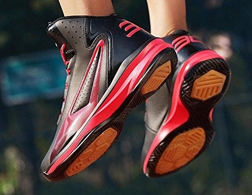 Jiye Chaussures De Basket-ball De Performance Des Hommes Lace Up Sport Sneakers De Mode Noir Rouge