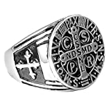 UNAPHYO Men's Stainless Steel Catholic Cross Medal St Benedict Exorcism Ring Signet Band Silver Size 13