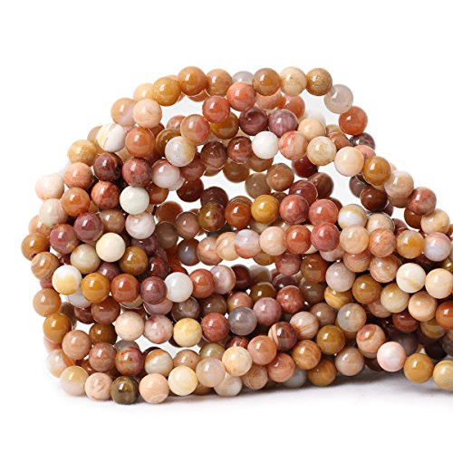 Wood 6mm Round Beads - Qiwan 60PCS 6mm Natural petrified wood Jasper Gemstone Smooth Round Loose beads for Bracelet Necklace Earrings Jewelry Making Crafts Design 1 Strand 15