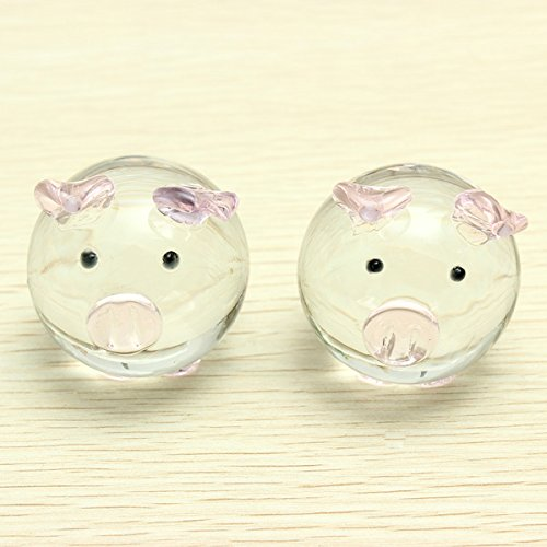 Blown Glass Pig (Crystal Glass Couple Pig Cute Pig Ornament Lovers Lucky Pig Gifts)