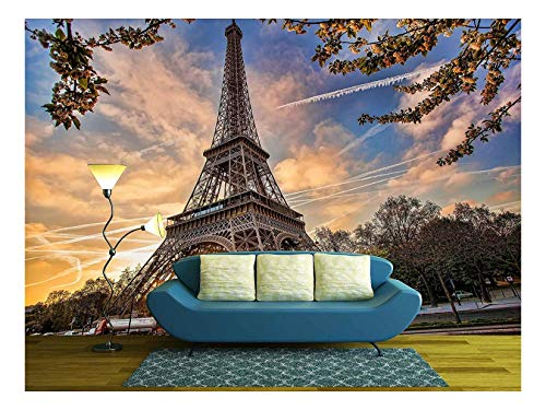 wall26 - Eiffel Tower with Spring Tree in Paris, France - Removable Wall Mural | Self-Adhesive Large Wallpaper - 66x96 inches