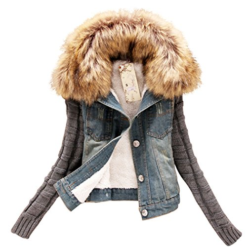 Sun Lorence(TM) Women Fashion Removable Fur Hooded Wool Sleeves Slim Fit Denim Jackets 5XL