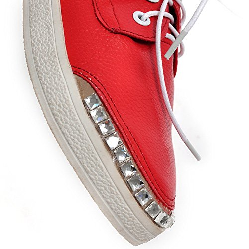 Red Toe AllhqFashion Up Womens PU Closed Lace Pumps Pointed Solid Low Heels Shoes qHwAq7
