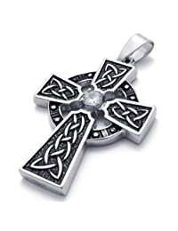 Konov Jewelry Unisex Mens Vintage Traditional Heritage Antique Stainless Steel Irish Knot Celtic Cross Necklace Pendant, Black Silver, with Gift Bag, 24 inch Chain, C21760-24