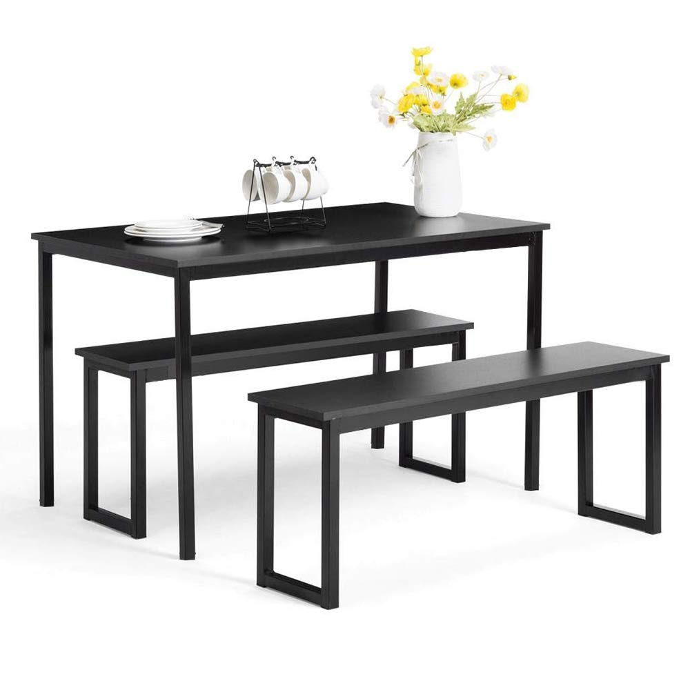 MOOSENG, 3 Pieces Dining Set, Modern Style Wood Table Top with Metal Frame and 2 Benches for Kitchen Room Furniture, Simple-Black