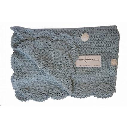 Lorena Canals Manta Crochet Modelo Galleta Color Azul: Amazon.es: Bebé