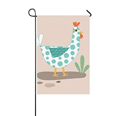 Jnseff Home Decorative Outdoor Garden Flags Holder Double Sided Print Standing Chicken Texture Blue Dots Collage Welcome Flags Garden Farm Garden Flag 12x18 Inch Spring Summer Gift: Garden & Outdoor