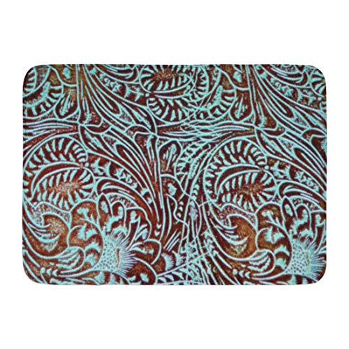 - Coolest Secret Bath Mat Country Toolin in Teal Brown Western Rustic Tooled Cowboy Bathroom Decor Rug 16