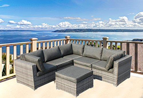 Patio Outdoor Rattan Wicker 6Pc Corner Sectional Sofa set furniture Full Assembled with Grey Cushions