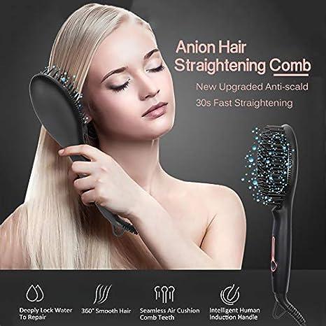 Hair Pelo Iónico Enderezar Cepillo De Cerámica Calefacción Cepillo De Pelo Enderezar Rápido Y Fácil Recta
