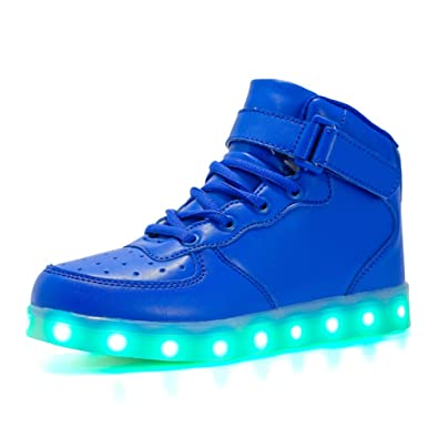 Wasnton Unisex Kids USB de Carga de Color LED Zapatos Ligeros Zapatilla Deportiva con Destellos High-Top: Amazon.es: Zapatos y complementos