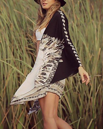 Sciolto Style Women Nero Kimono Moda Beachwear Cardigan Bohemian Stampato Copricostume Camicetta Giovane Di Etno Chiffon Up Donna Spiaggia Estivo Cardigan Top Forti Grazioso Taglie Cover Vintage 7SPxSqw