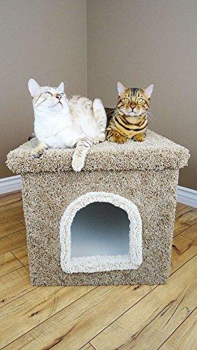 Wood Cat Litter Box Gray House Carpet Litter Box Bed No Mess