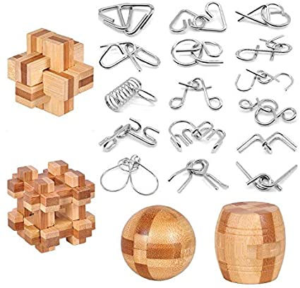 Amazon Com Brain Teaser Puzzle 20pcs Unlock Interlock Game Iq Test Wooden Toy 3d Unlock Interlock Puzzle Magic Ball Brain Teaser Toy Puzzles For Adults Toys Games