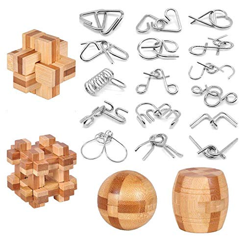 Brain Teaser Puzzle 20Pcs Unlock Interlock Game IQ Test Wooden Toy 3D Unlock Interlock Puzzle Magic Ball Brain Teaser Toy puzzles for adults