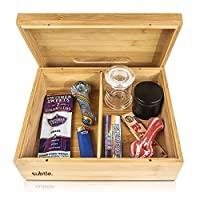 Rolling Tray Stash Box - Extra Large Bamboo Box w/Ample Storage Space to Organize...