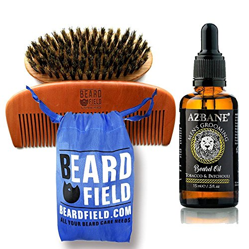TNSO Grooming Kit – Premium Beard Oil Conditioner & Beard Comb and Brush Bundle Gift for Him | AZBANE