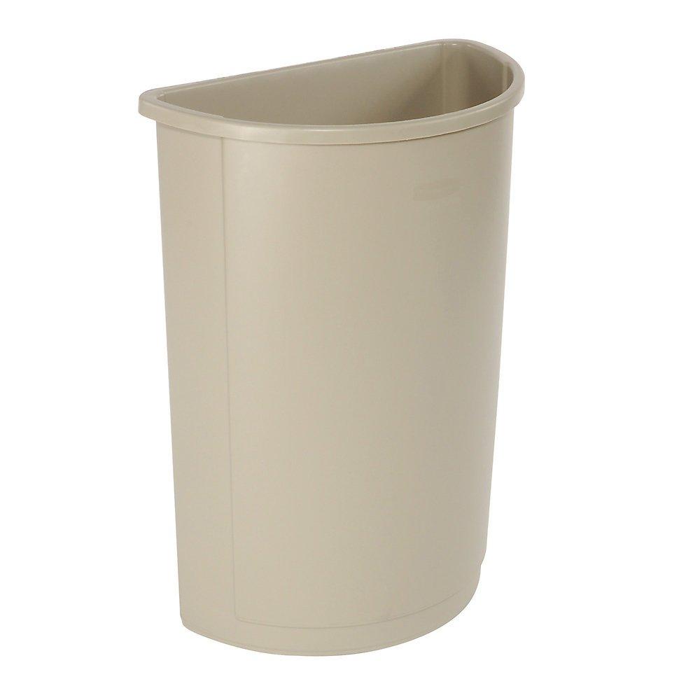 Rubbermaid Untouchable Container - Half-Round Base - 21-Gallon Capacity - Beige - Beige - 21''Lx11''Wx28''H