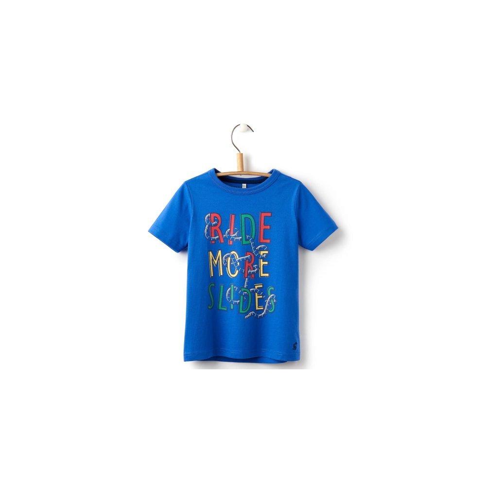Joules Boys Ben Dazzling Blue Short Sleeved Top T-Shirt Ride More Slides