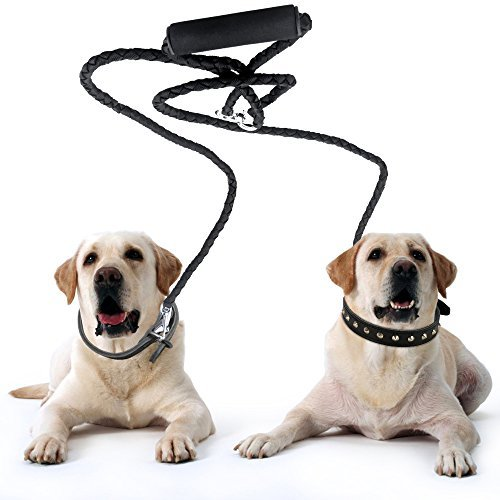 Heavy-Duty-Tangle-Free-Dual-Double-Dog-Leash-54-inch-Long-with-Braided-Nylon-and-Soft-Grip-Handle-in-Black-Coupler-Dog-Pet-Dog-Lead-Leash-For-Twin-Large-Medium-Small-Dogs