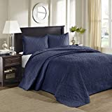 Quebec 3 Piece Bedspread Set Navy Queen