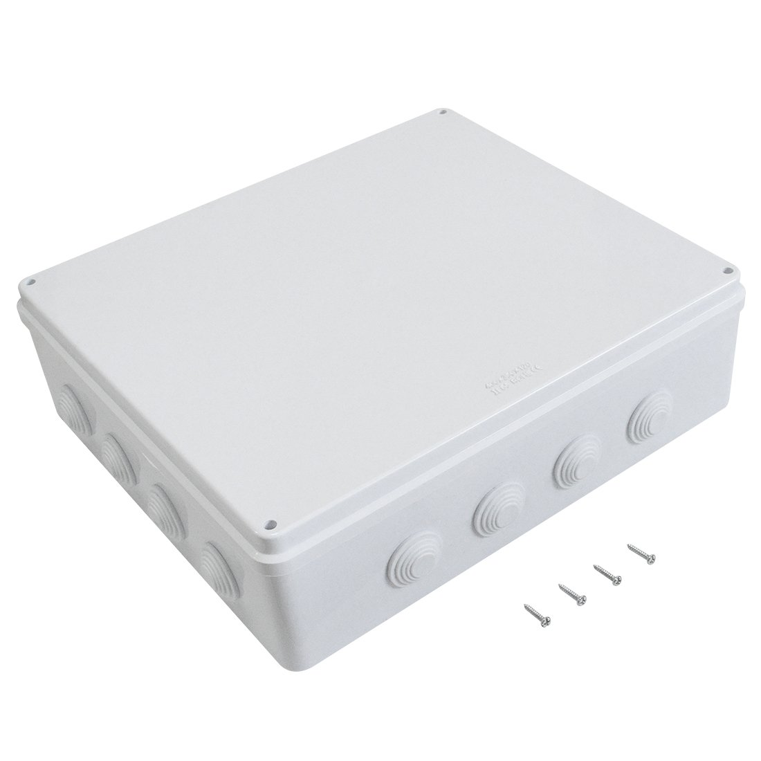 LeMotech ABS Plastic Dustproof Waterproof IP65 Junction Box Universal Electrical Project Enclosure White 15.7'' x 13.8'' x 4.7''(400mmx350mmx120mm)
