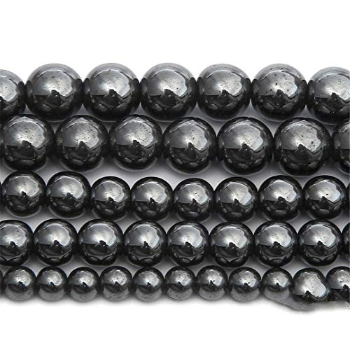 Natural Stone Black Hematite Beads 4 6 8 10 MM 15
