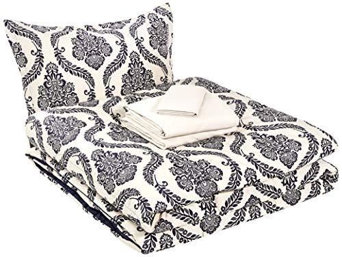 AmazonBasics 6-Piece Comforter Bedding Set, Twin / Twin XL, Blue and Tan Damask
