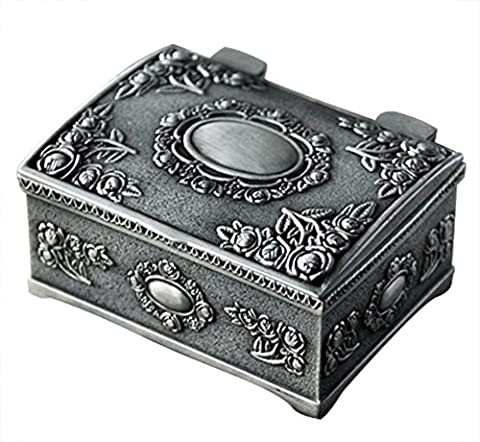Aimeio European Style Fashion Metal Jewelry Case Trinket Box Lord Rings Packing Box Square Shape Alloy Flower Carved Jewelry Box (Small Square)