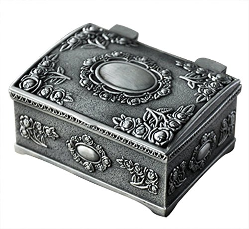 Aimeio European Style Fashion Metal Jewelry Case Trinket Box Lord Rings Packing Box Square Shape Alloy Flower Carved Jewelry Box (Small Square) (High Fashion Necklace Gift Box)