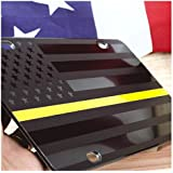 JASS GRAPHIX Dispatcher Thin Yellow Line American Flag License Plate Matte Black on 1/8 Black Aluminum Composite Heavy Duty Tactical Patriot USA Car Tag