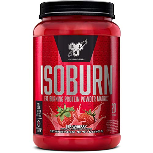 BSN ISOBURN, Lean Whey Protein Powder, Fat Burner for Weight Loss with L-carnitine - Strawberry Milkshake, (20 Servings)