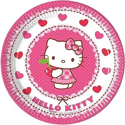 Piatti Hello Kitty,24 Piatti,24 Bicchieri,40 tovaglioli Hello Kitty Festa Hello Kitty,Piatti Hello Kitty