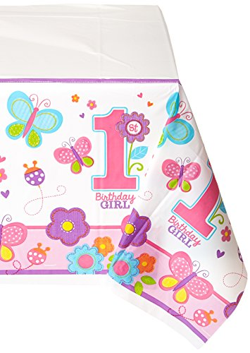 Plastic Table Cover | 1st Birthday | Girl | Flowers and Butterflies Collection | 6 -