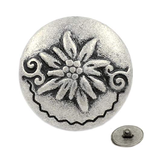 Bezelry 12 Pieces Edelweiss Antique Silver Metal Shank Buttons 20mm (3/4 inch) ()