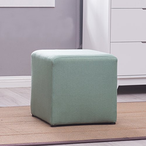 Belleze Cube Ottoman Foot Stool Upholstered Multi-function Seating Home, Green