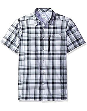 Men's Silver Ridge Plaid Short Sleeve Shirt, Shark Plaid, Large