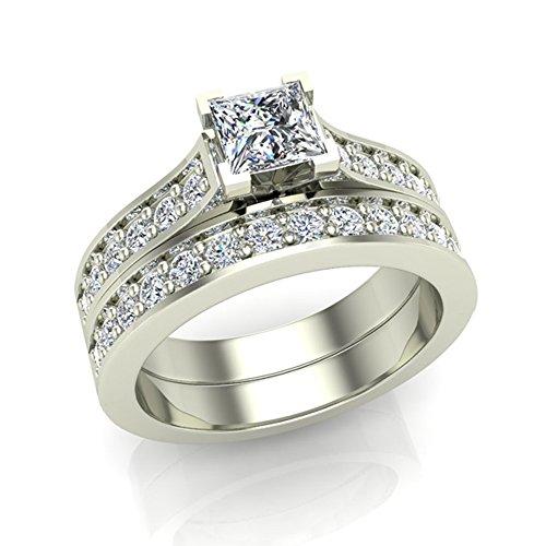 Princess Cut Diamond Wedding Ring 14K White Gold 1.25 ct tw (Ring Size 7.5)