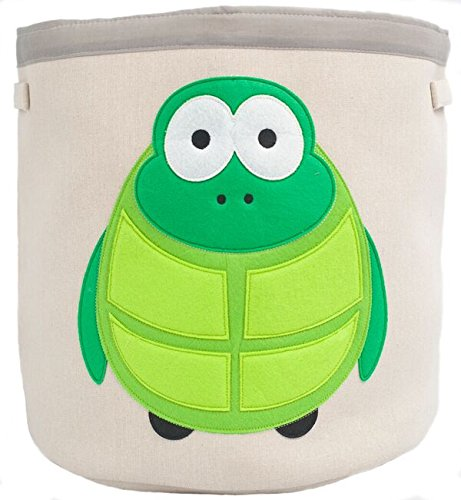 Grey Bee Animal Theme Collapsible Canvas Storage Bin for Kids, Green - Turtle ()