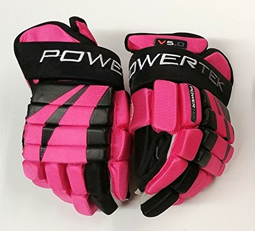 PowerTek V5.0 Tek Junior Ice Hockey Gloves, Flex Full Motion Cuff (Pink/Black, ()