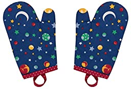 Handstand Kitchen Child\'s \'Stars and Planets\' Pair of Oven Mitts